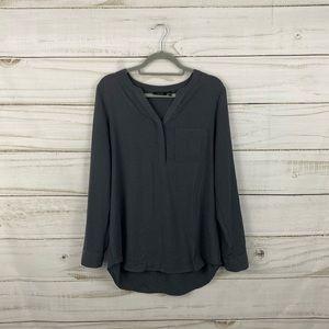 Apt. 9 Gray Black Long Sleeve Blouse Top Size L